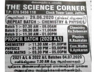 The Science Corner - Chemistry, physics repeat batch start